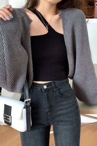 Woman Sweaters Pullover  Spring 2021 Black Knitted Cardigan Women's Sweater Coat Loose Long Sleeve Sweater Top Femme Chandails
