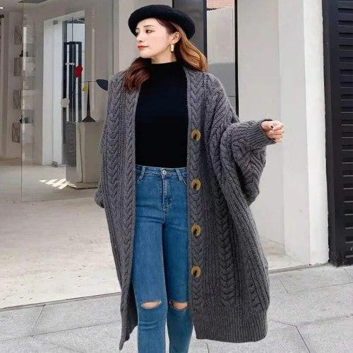 Women's Long Loose Knitted Cardigan V-Neck Long Sleeve Autumn Winter Soft Overcoat Korean Fashion Casual Harajuku Sweater Coat