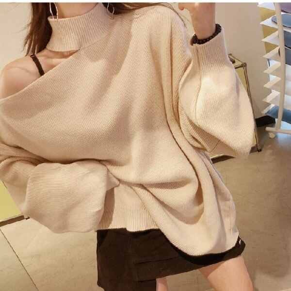 Women Autumn Winter One Shoulder Sweater Loose Fit Plush Pullover Sweater Pure Color Warm Fashion Long Sleeve Knitted Streetwear