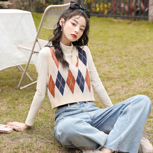 Sweater Vest Women V-Neck Argyle Knitted Sweaters Vests Womens Pullovers Short Korean Style Sleeveless Trendy All-Match Casual
