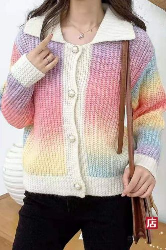 Women 2021 Top Rainbow Knitted Cardigan Sweater Female Sweet and Loose Japanese Style Autumn Camouflage Coat Sweater
