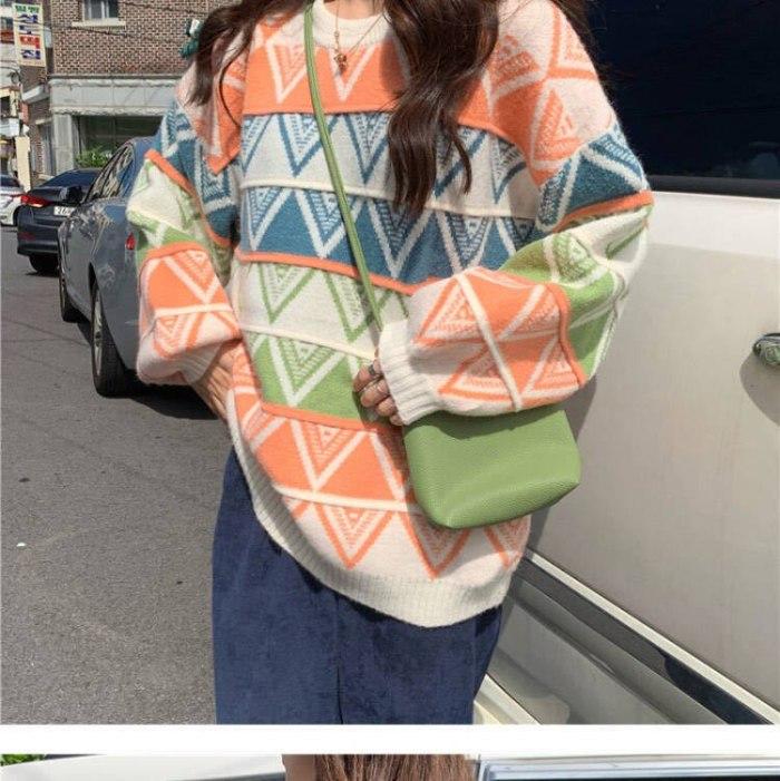 Vintage sweet sweater women Korean striped  round neck sweater geometric print loose top sweater  womens winter sweaters