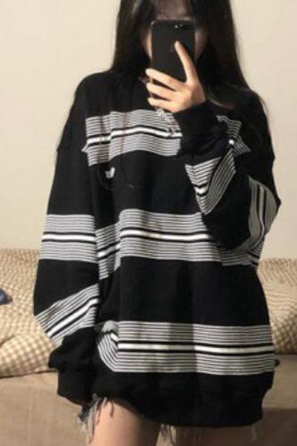 autumn Hoodies Streetwear Women Harajuku Oversized Stripe thin Sweatshirt Pullovers Korean Fashion cotton Long Sleeve black Tops