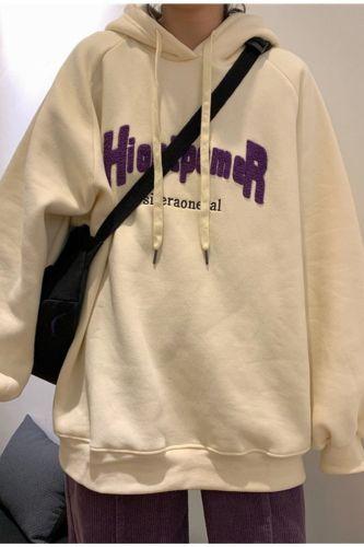 New Plus Velvet Padded Hooded Sweatshirt Women Autumn And Winter Letters Loose Korean Style Streetwear Top Harajuku Hoodie