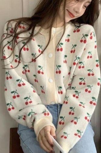 New 2021 Women's Autumn Winter Sweaters Short Cardigan Oversized Cherry Vintage Korean Wild Elegant Lady Knitwear Tops SWC1092JX