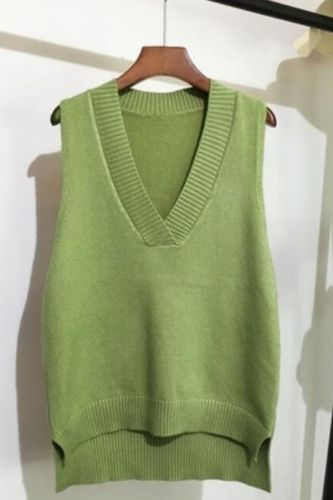 Knitting Sweater Vest Women Sleeveless V-neck Soild Autumn And Winter New Korean Loose Wild Casual Pink Knitted Women's Jumper