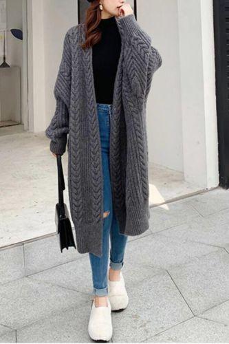 Womens Chunky Popcorn Cardigan Oversized Open Front Boyfriend Batwing Long Sleeve Fuzzy Knit Sweaters