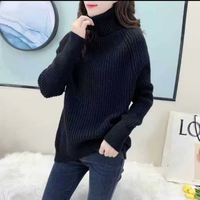 Lazy wind high neck pullover sweater women's top for autumn and winter 2021 new women's loose slim knit sweater base