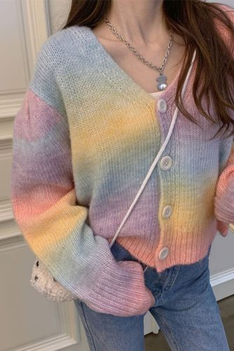 2021 Spring New All-Match V-Neck Breasted Rainbow Color Short Knitted Cardigan Jacket Women