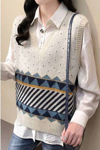 Sweater Vest Women Classic Vintage Harajuku All-match Casual Korean Style Chic Fashion Autumn Winter Sleeveless Knitted Sweaters