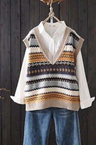 Women's Embroidered Knitted Vest Female V-neck Jacquard Art Retro Loose Casual Shirt 2021 Autumn Winter Sleeveless Pullover