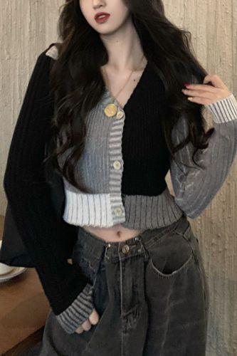Cardigan Womens Retro Short V-neck Patchwork Knit Daily All-match Slim Trendy Female Ins Korean Style Sexy Fashion Soft Chic New