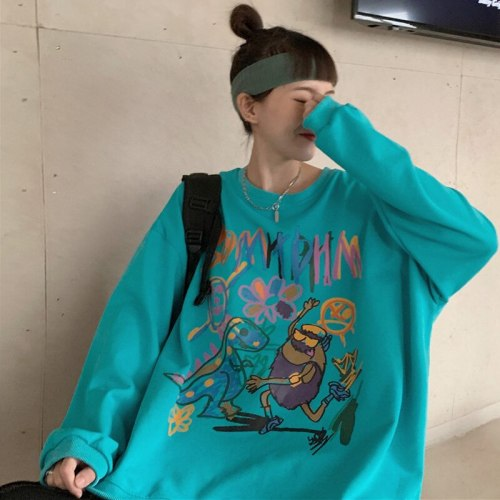 Japanese Wear New Products For Autumn And Winter 2021 Long-Sleeved Sweater Women Graffiti Casual Loose Thin Mid-Length Top