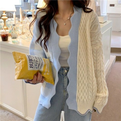Sweet Japan Fashion Patchwork Sweater Cardigan Women Casual Loose Plaid Knitted Tops All Match 2021 Spring Autumn New