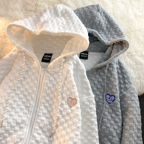 Waffle Coat Women Zip Up Hoodie Fashion Hoodie Vintage Harajuku Sweatshirt Jacket For Women Printing Casual Streetwear 2021 Fall