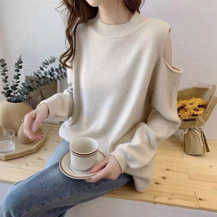 Korean Sweaters Women Streetwear Knitwear Pullover Off Shoulder Lantern Sleeve Fashion Spring Autumn Outwear Jumper B709