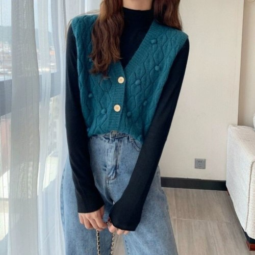2021 Spring Autumn Retro Chic Lovely Sweater Vest Women V-neck Single Breasted Teens Cardigan Sleeveless Knitwear Femme Y580