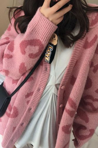 Korean Style Leopard Print Cardigan Sweater Women's Middle Long  New Red Lazy Wind V-neck Knitted Coat