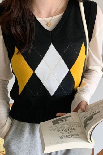 Jersey Chaleco Mujer Vintage V-Neck Sueter Winter Clothes Women Sweater Vest Knit Top 2021 Colete Feminino Pull Femme