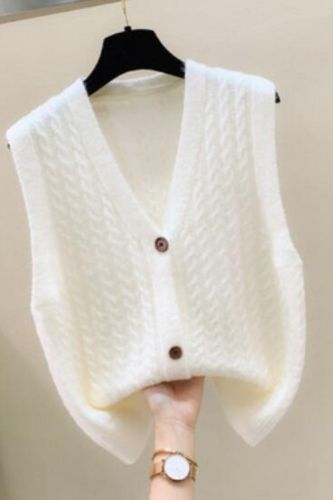 Women's Sleeveless Sweater Fashion Knitted Vest 2021 Casual Korean V-Neck Casual Loose Waistcoat  Chic Top 11 colors