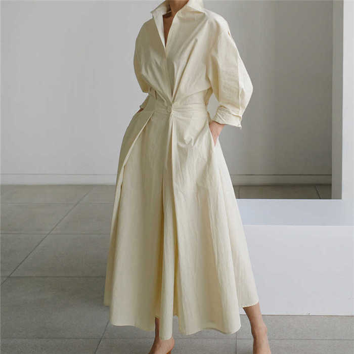Korea Chic Autumn Casual Trend Women Solid New Lapel Single Button Loose Fashion Long-sleeved Shirt Dress 2021 16E1954