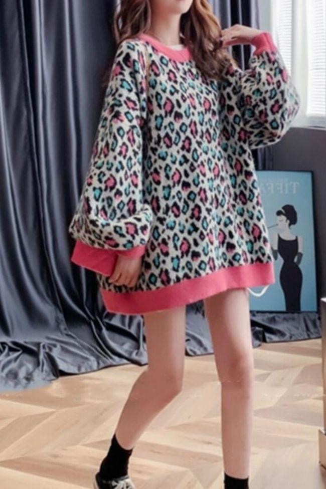 Oversized Sweater Pullover Harajuku Style Retro Leopard Print Loose Mid-length Plus Velvet Coat Top  Winter Clothes Women