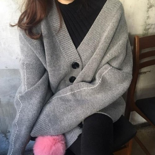 Spring Autumn Women Sweater Breasted Buttons Cardigan Knitted Jacket Outwear Female Oversized Sweaters