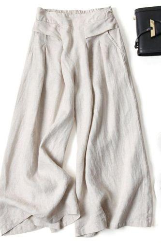 Summer Pants for Women Cotton Linen Large Size Wide Leg Pants Femme Arts Style Elastic Waist Solid Casual Loose Pantalon