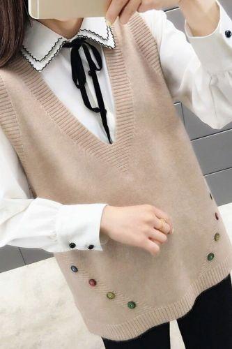 Women'S New Knitted Vest Korean Version Loose V-Neck Waistcoat Back Lace Sling Sweater Women