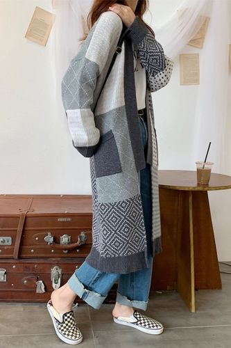 Fashion Knitted Sweater Women Autumn Winter cardigan Long Loose Knitwear Female casual female sweater patchwork color 2020 HOT