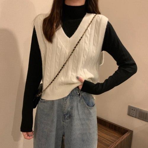 2021 Spring Autumn Knitted Sweater Vest Women Sleeveless V-neck Short Waistcot Female Korean Preppy Style Chic Crop Tops