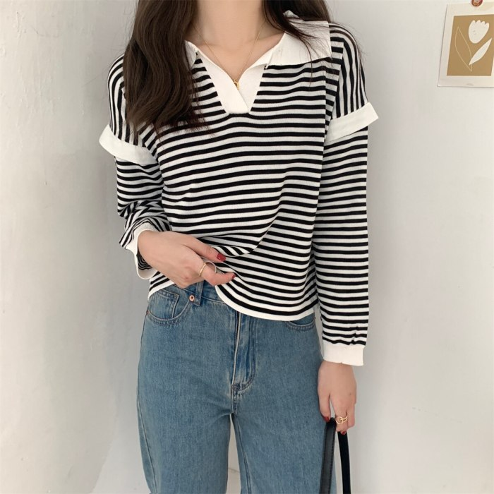Women Knitted Pullover Sweater 2021 Fashion Autumn Long Sleeve Loose Coat Casual Button Thick Polo Collar Striped Female Tops