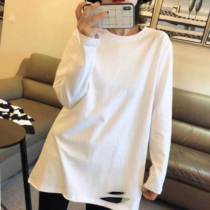 T-shirt Tops Shirt White Top Female In A Western Style 2021 New Cotton Long Sleeve T-shirt Female Spring And Autumn Long