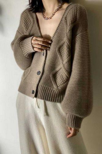 V-neck Cardigan Women 2021 Autumn Winter Office Ladies Casual Korean Long Sleeve Sweater Women Tops Female Cardigans