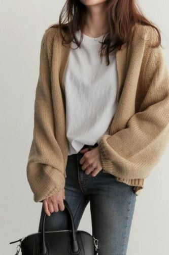 Autumn Chic Women Cardigans Sweater Long Sleeve Loose Plus Size Girls Knitted Short Coat Causal Solid Korean Tops 2021