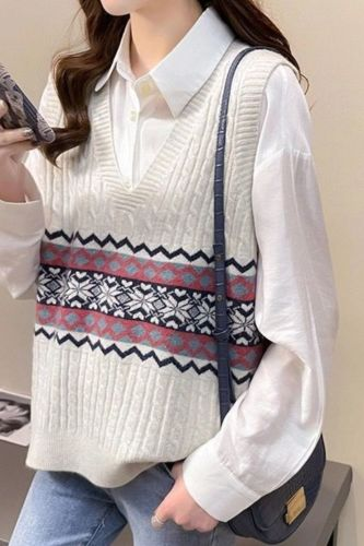 2021 Autumn Winter Women Vintage Sweater Vest Female Print V Neck Sleeveless Knitted Waistcoat Lady Loose Thick Warm Vest L723