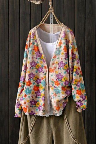 Retro Women'S Sweater 2021 New Spring And Autumn Korean Version Loose Lazy Knit Printing Cardigan Women Autumn And Winter