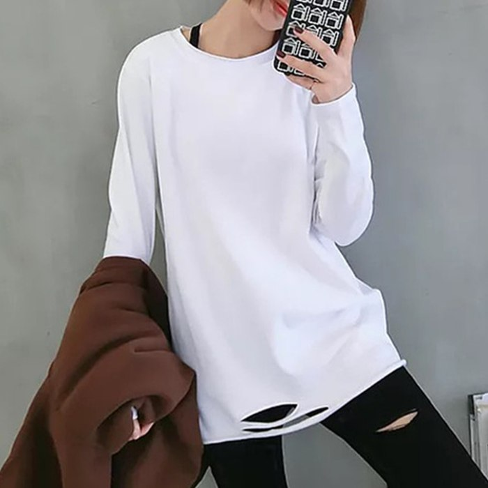 Women Blouses Autumn Long Sleeve O Neck Solid Color Ripped Hole Loose Blouse woman fashion 2021 elegant ropa de mujer Streetwear