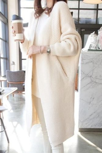 Spring Autumn Solid Long Cardigans for Woman  Casual Loose Ladies Knitted Sweater Female Batwing Sleeve Long Cardigans
