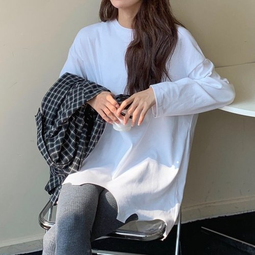 Long Sleeve T-shirts Women BF Style Chic Popular Basic Teens White Tops Autumn Classic All-match Simple Casual Loose Womens Tees