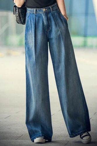 Jeans Women's Wide-leg Jeans 2021 y2k Streetwear High Waist Vintage Trousers Casual Simple Blue Buttons Straight Denim Long Pant