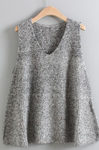A Version Loose Large Size Pullover Wool Jumper Spring Autumn V Neck Sweater Vest Women's Sleeveless Knitted Waistcoat Blouse
