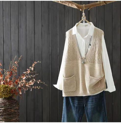 Spring/Autumn Fashion Vest Coat For Women Trend Knitwear 3D Print With Pockets Design Female V-Neck Pullover Oversize Waistcoat