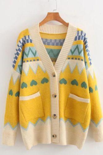 2021 autumn and winter women cardigans new Korean version of diamond-shaped knit love jacquard wide loose sweater coat women