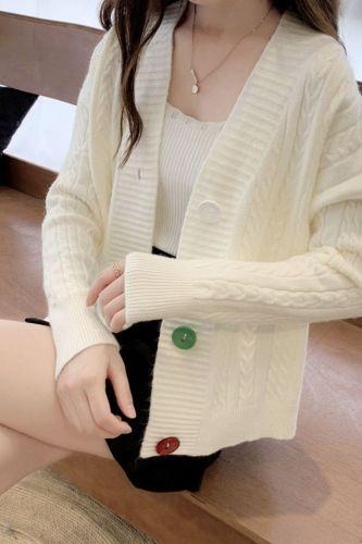 Cardigan Sweaters Women Slim Elegant Lazy Tender Temperament Twist All-match Long Sleeve V-Neck Autumn New BF Style Knitted Wear
