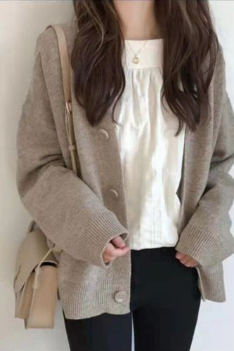 Cardigan Women 2021 Vintage Sweater Casual Loose Korean Jumpers Knitted Single Breasted Long Sleeve Harajuku Solid Elegant w023