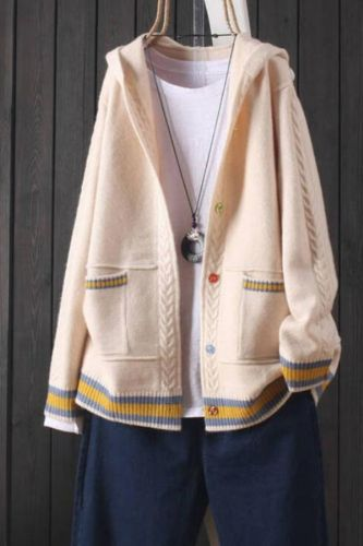 Jacket women's 2021 autumn new knitted cardigan pocket long sleeve hooded button sweater outer top