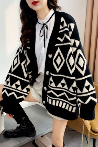Western Style Geometric Rhombus Knitted Cardigan Women'S Spring Thickened Lazy Loose Outer Wear Mid-Length Sweater Coat