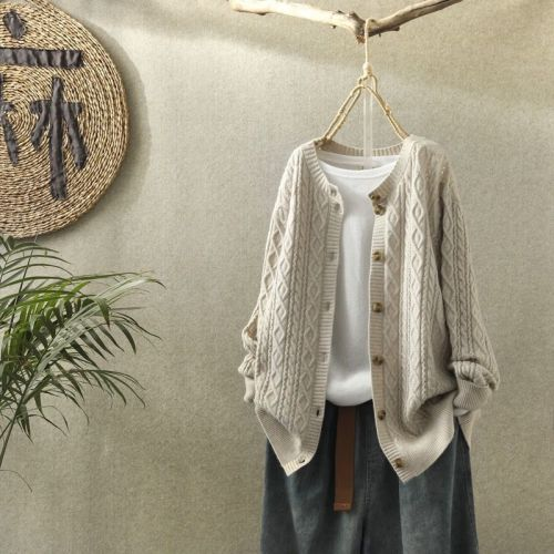 Sweater Jacket Women'S Solid Cardigan Retro Literary Round Neck Long Sleeve All-Match Casual Knitted Sweater Autumn Winter