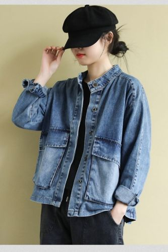 European Spring New Stand Collar Washed Loose Long-sleeved Denim Casual Short Jackets Coats Women Tops Fashion Streetwear 2021